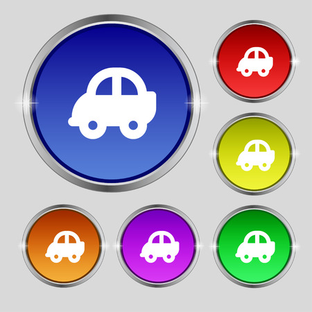 coupe: Auto icon sign. Round symbol on bright colourful buttons. Vector illustration Illustration