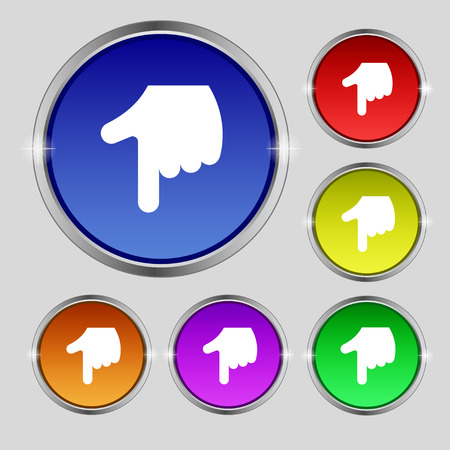 pointing hand icon sign. Round symbol on bright colourful buttons. Vector illustration Vector
