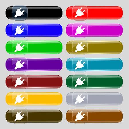 unplugged: Enchufe el�ctrico, energ�a Potencia icono de signo. Fije de catorce botones multicolores de vidrio con lugar para el texto. Ilustraci�n vectorial