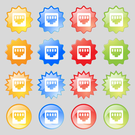 interconnect: cable rj45, Patch Cord  icon sign. Set from sixteen multi-colored glass buttons with place for text. Vector illustration