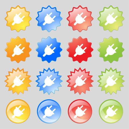 unplugged: Enchufe el�ctrico, energ�a Potencia icono de signo. Fije de diecis�is botones multicolores de vidrio con lugar para el texto. Ilustraci�n vectorial