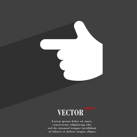 www arm: pointing hand  icon symbol Flat modern web design with long shadow and space for your text. Vector illustration
