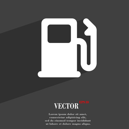 refuel: Petrol or Gas station, Car fuel  icon symbol Flat modern web design with long shadow and space for your text. Vector illustration