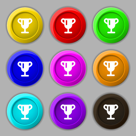 awarding: Winner cup, Awarding of winners, Trophy icon sign. symbol on nine round colourful buttons. Vector illustration Illustration