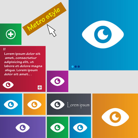 publish: Eye, Publish content icon sign. Metro style buttons. Modern interface website buttons with cursor pointer. Vector illustration Illustration