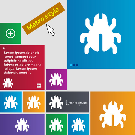 disinfection: Software Bug, Virus, Disinfection, beetle icon sign. Metro style buttons. Modern interface website buttons with cursor pointer. Vector illustration