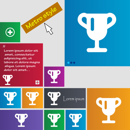 awarding: Winner cup, Awarding of winners, Trophy icon sign. Metro style buttons. Modern interface website buttons with cursor pointer. Vector illustration Illustration