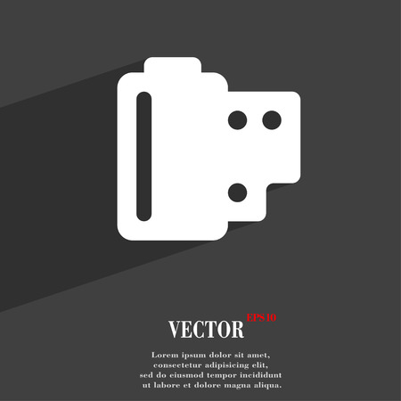 exposed: 35 mm negative films  icon symbol Flat modern web design with long shadow and space for your text. Vector illustration