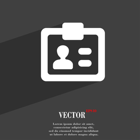 nametag: ID,  Identity card  icon symbol Flat modern web design with long shadow and space for your text. Vector illustration Illustration