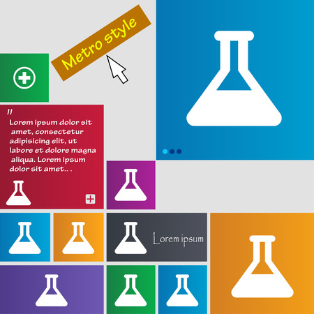 medical testing: Conical Flask icon sign. Metro style buttons. Modern interface website buttons with cursor pointer. Vector illustration