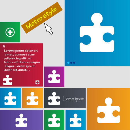 conundrum: Puzzle piece icon sign. Metro style buttons. Modern interface website buttons with cursor pointer. Vector illustration Illustration