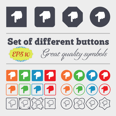 www arm: pointing hand  icon sign. Big set of colorful, diverse, high-quality buttons. Vector illustration