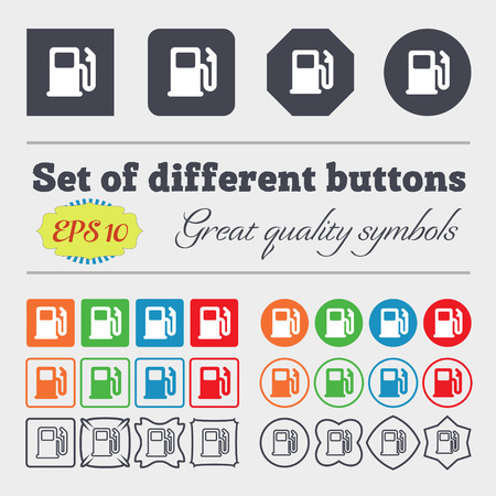refuel: Petrol or Gas station, Car fuel  icon sign. Big set of colorful, diverse, high-quality buttons. Vector illustration