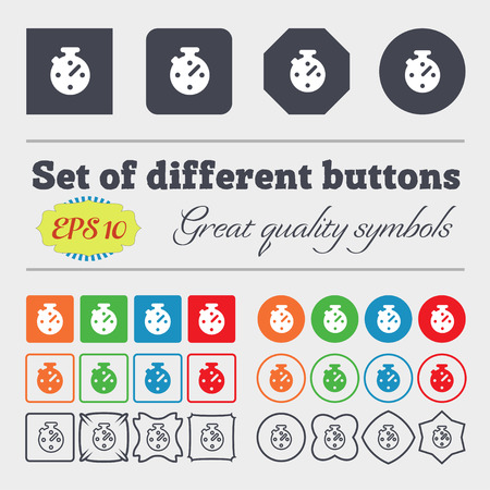 big timer: Timer, stopwatch  icon sign. Big set of colorful, diverse, high-quality buttons. Vector illustration