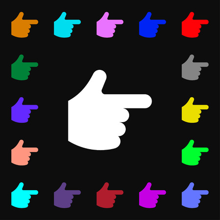 pointing hand  icon sign. Lots of colorful symbols for your design. Vector illustration Vector