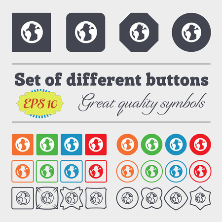 geography: Globe, World map geography  icon sign. Big set of colorful, diverse, high-quality buttons. Vector illustration