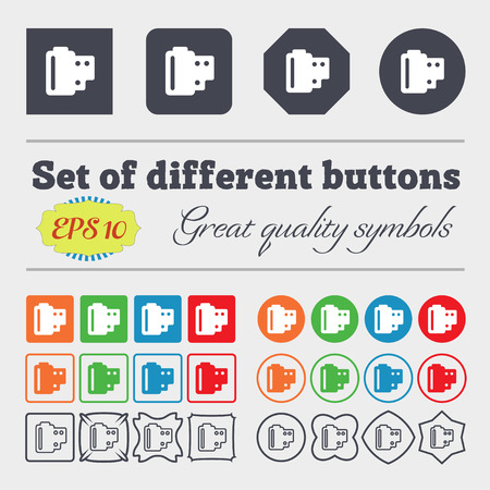 35 mm: 35 mm negative films  icon sign. Big set of colorful, diverse, high-quality buttons. Vector illustration