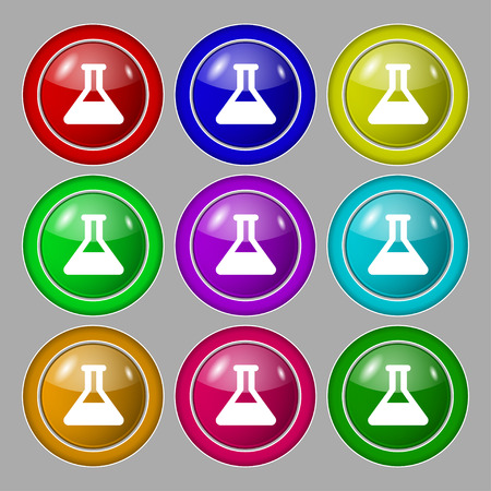 conical: Conical Flask icon sign. symbol on nine round colourful buttons. Vector illustration