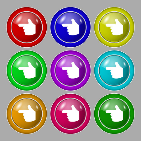 pointing hand icon sign. symbol on nine round colourful buttons. Vector illustration Vector