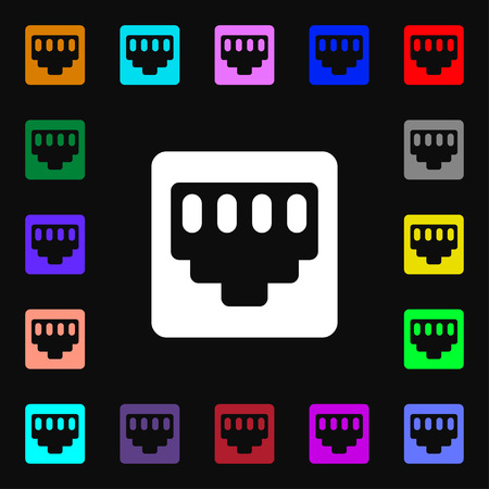 interconnect: cable rj45, Patch Cord  icon sign. Lots of colorful symbols for your design. Vector illustration Illustration