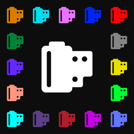 processed: 35 mm negative films  icon sign. Lots of colorful symbols for your design. Vector illustration