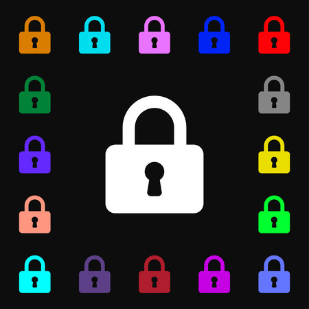 pad lock: Pad Lock  icon sign. Lots of colorful symbols for your design. Vector illustration