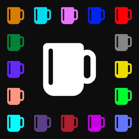 cup of coffee: cup coffee or tea  icon sign. Lots of colorful symbols for your design. Vector illustration