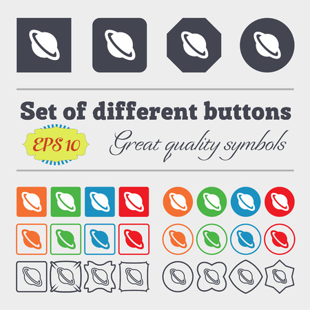 globus: Jupiter planet  icon sign. Big set of colorful, diverse, high-quality buttons. Vector illustration