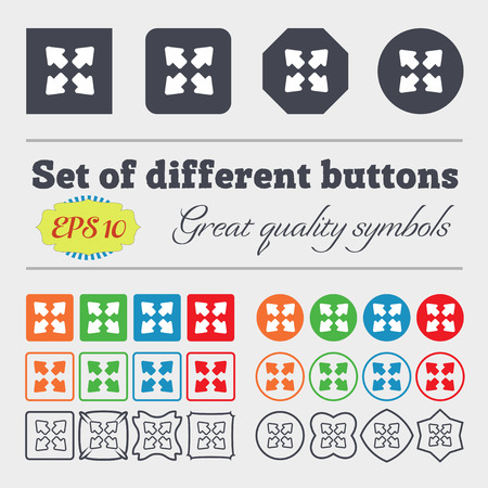 wider: Deploying video, screen size  icon sign. Big set of colorful, diverse, high-quality buttons. Vector illustration
