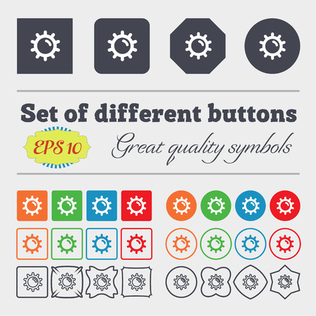 solarium: Sun  icon sign. Big set of colorful, diverse, high-quality buttons. Vector illustration