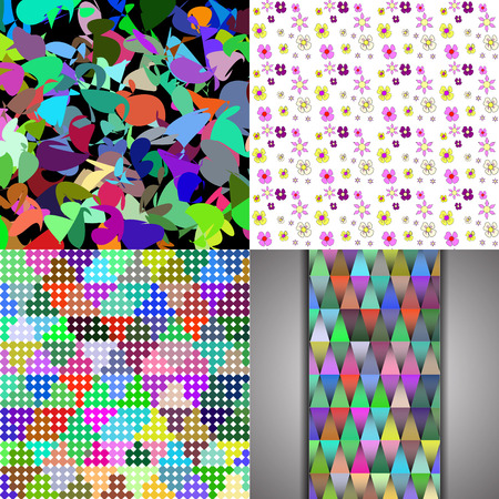 brightly: Set of texture of many small brightly colored figures.  illustration