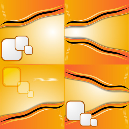 multilayer: Set of 4 orange backgrounds with place for your text. Raster copy.