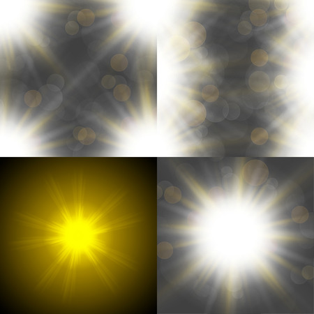 Set with four Abstract blurry background with  overlying semi transparent circles, light effects and sun burst