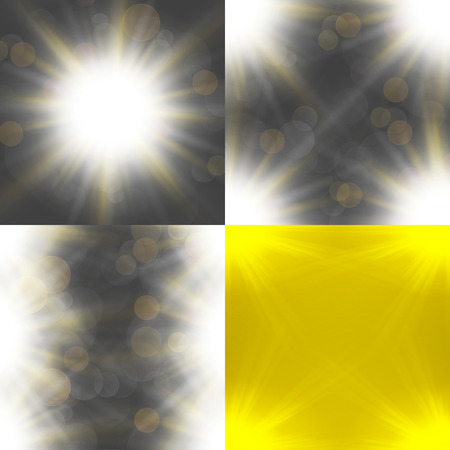 semitransparent: Set with four Abstract blurry background with  overlying semi transparent circles, light effects and sun burst