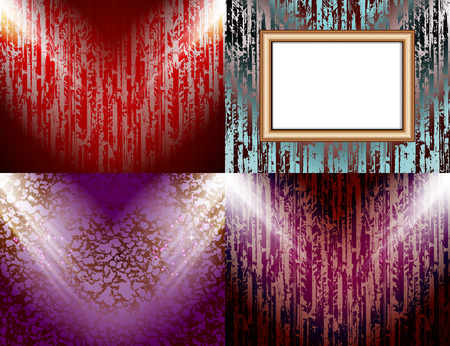 searchlights: Set of colorful abstract backgrounds and frames for text or photos illuminated by searchlights.  illustration Stock Photo