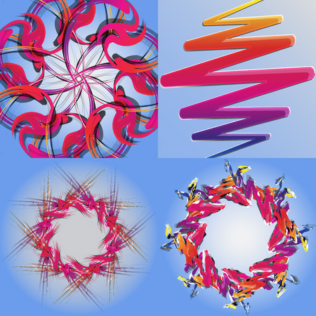 colored backgrounds: Set of abstract rainbow colored backgrounds with swirl.  Illustration