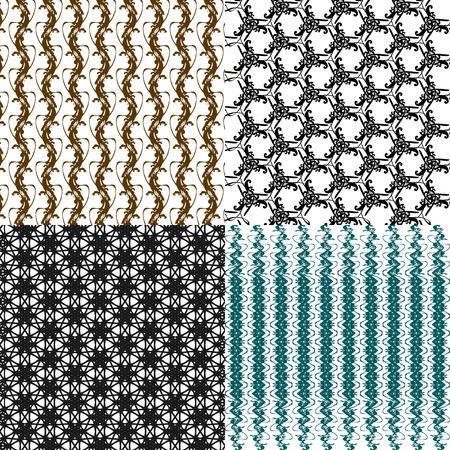 wattled: Set of abstract vintage geometric wallpaper pattern background.  illustration