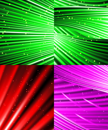 miraculous: Set of Snow and stars are falling on the background of colour luminous rays.  illustration Stock Photo