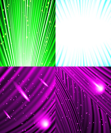 fire wire: Set of Abstract luminous rays background.  illustration