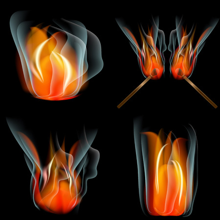 Set of Burn flame fire. abstract background.  illustration Stock Photo