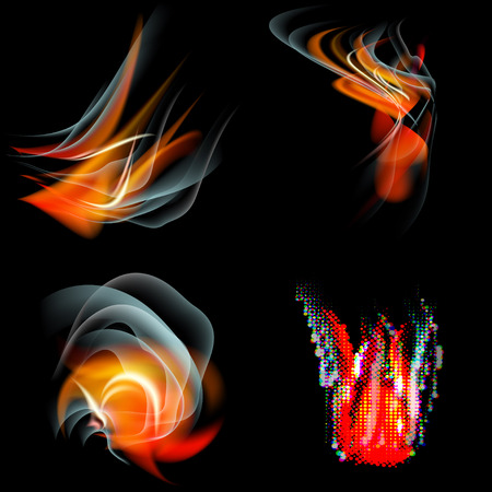 saturated color: Set of Burn flame fire. abstract background.  illustration Stock Photo
