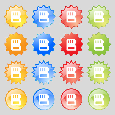 memory card: compact memory card  icon sign. Set from sixteen multi-colored glass buttons with place for text. Vector illustration