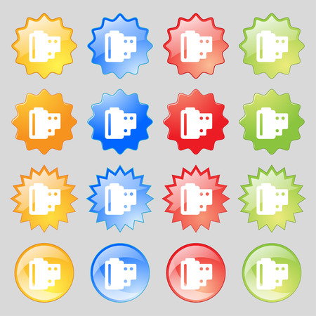 processed: 35 mm negative films  icon sign. Set from sixteen multi-colored glass buttons with place for text. Vector illustration