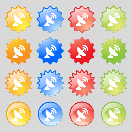high speed internet: satellite antenna  icon sign. Set from sixteen multi-colored glass buttons with place for text. Vector illustration