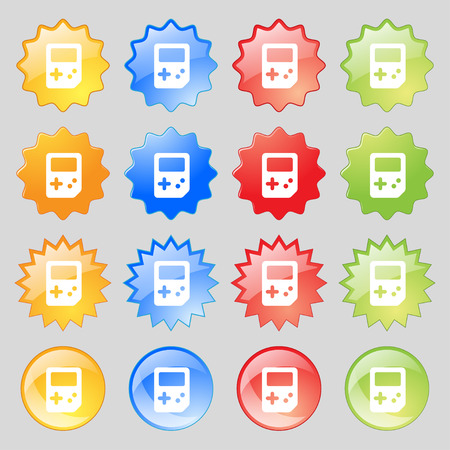 tetris: Tetris  icon sign. Set from sixteen multi-colored glass buttons with place for text. Vector illustration