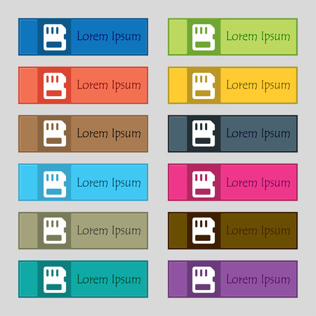memory card: compact memory card  icon sign. Set of twelve rectangular, colorful, beautiful, high-quality buttons for the site. Vector illustration Illustration