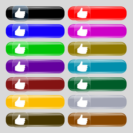 fourteen: Like, Thumb up  icon sign. Set from fourteen multi-colored glass buttons with place for text. Vector illustration