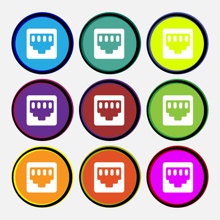 interconnect: cable rj45, Patch Cord  icon sign. Nine multi-colored round buttons. Vector illustration
