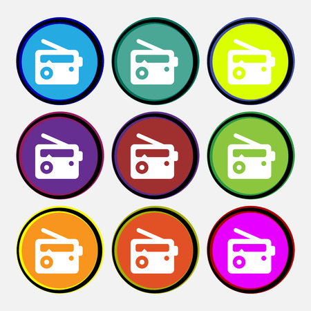 fm: Retro Radio  icon sign. Nine multi-colored round buttons. Vector illustration