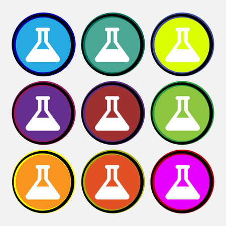 conical: Conical Flask  icon sign. Nine multi-colored round buttons. Vector illustration